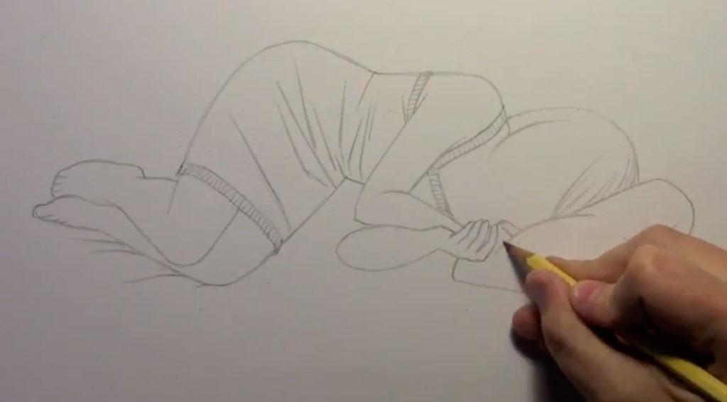 Рисуем лежащую на кровати аниме девушку - шаг 3