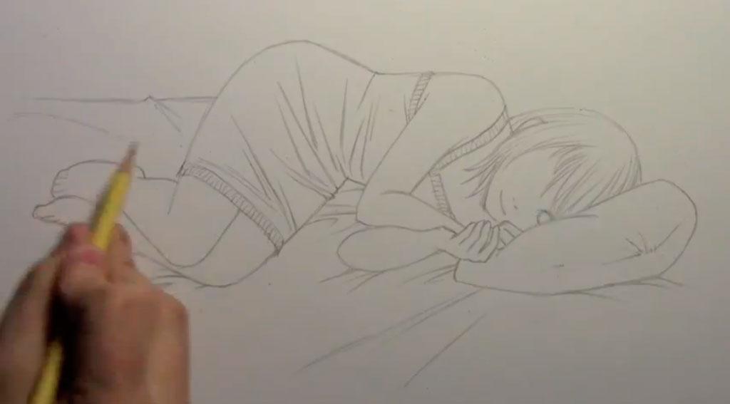 Рисуем лежащую на кровати аниме девушку - шаг 4