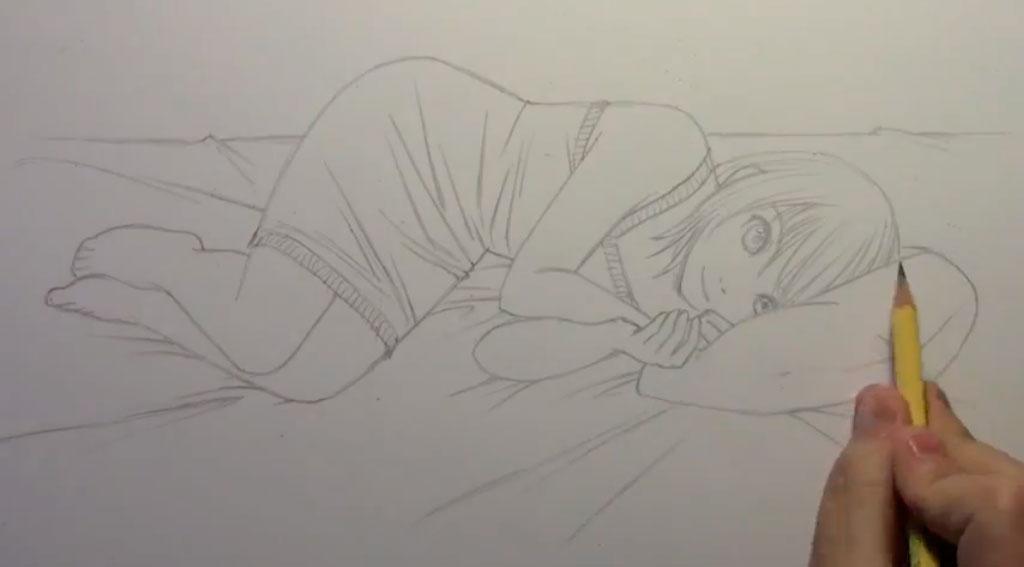 Рисуем лежащую на кровати аниме девушку - шаг 5