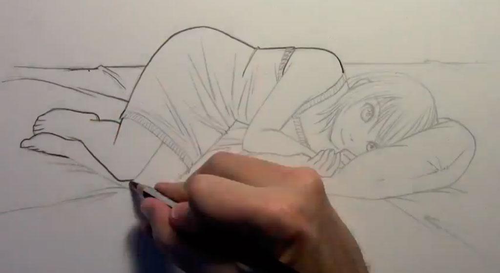 Рисуем лежащую на кровати аниме девушку - шаг 6