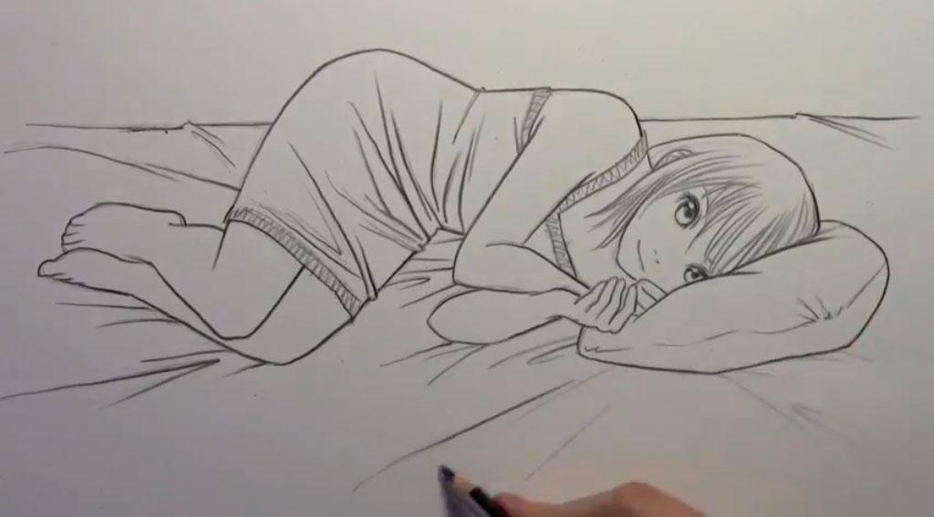 Рисуем лежащую на кровати аниме девушку - шаг 7