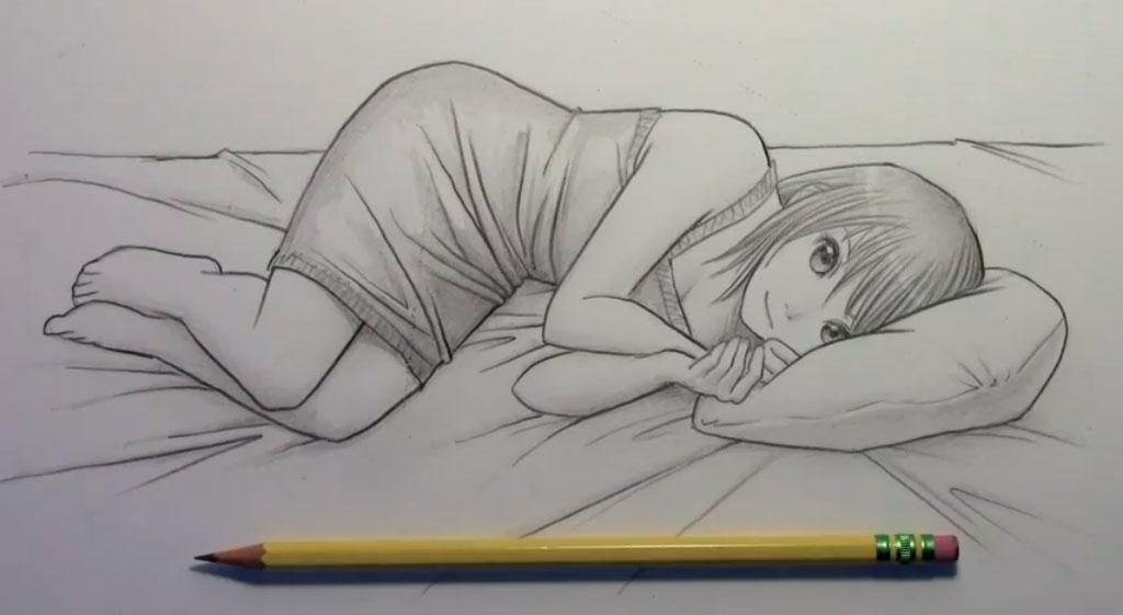 Рисуем лежащую на кровати аниме девушку - шаг 8