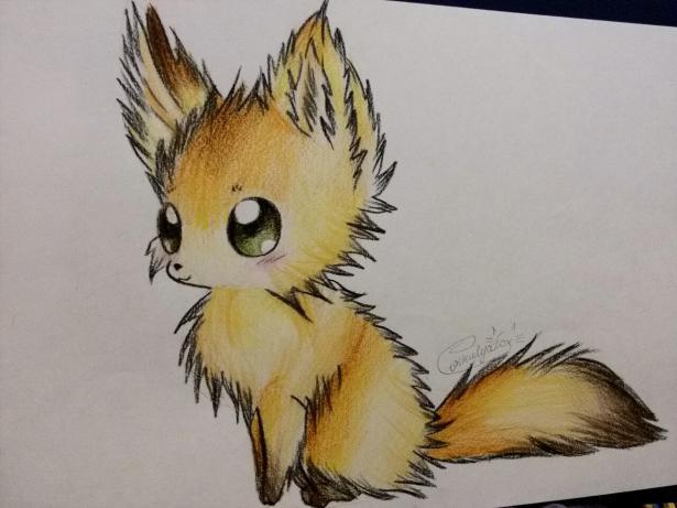 Рисуем аниме лису карандашами - шаг 10