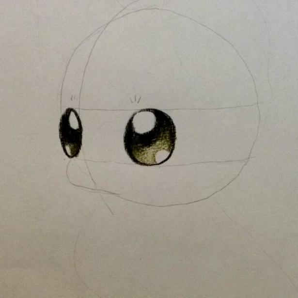 Рисуем аниме лису карандашами - шаг 2