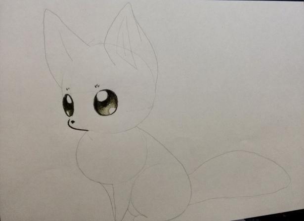 Рисуем аниме лису карандашами - шаг 3