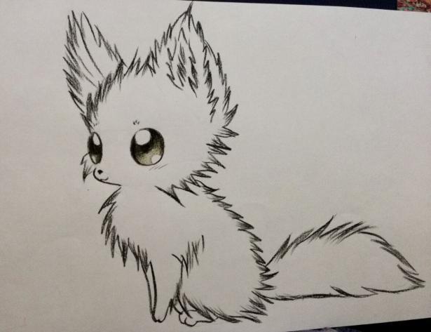 Рисуем аниме лису карандашами - шаг 6
