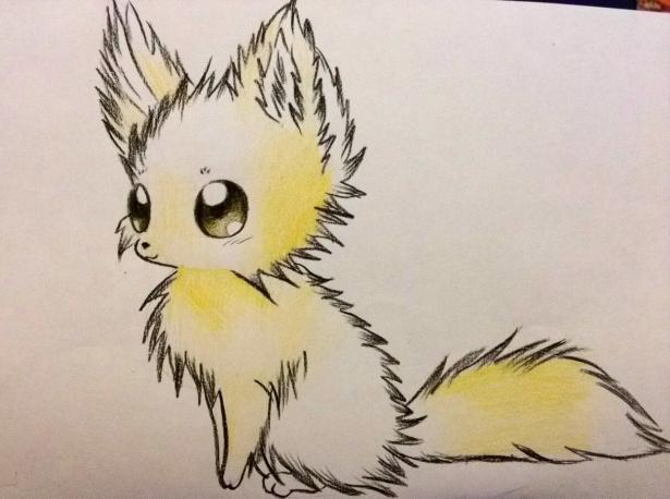 Рисуем аниме лису карандашами - шаг 7