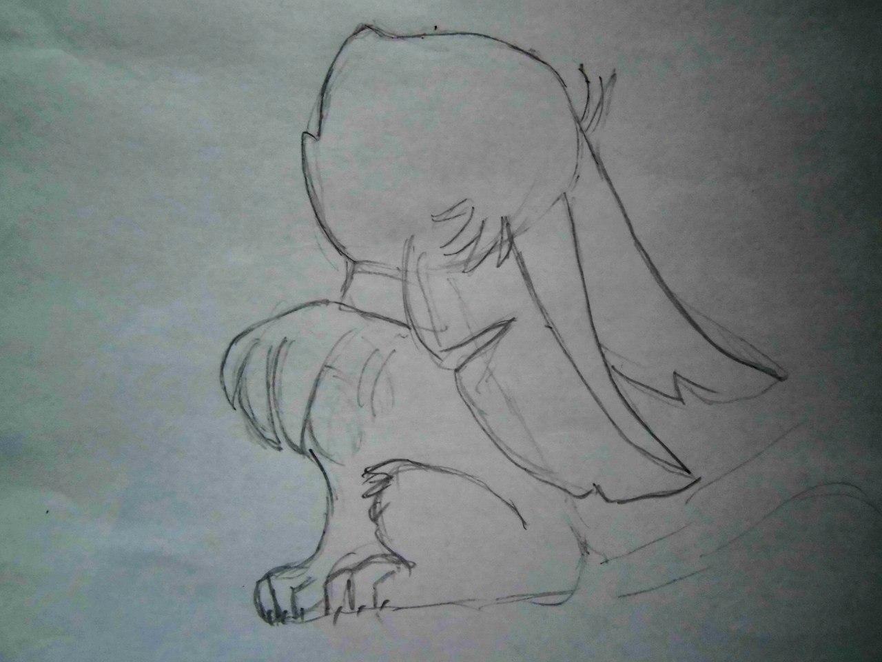 Рисуем аниме лисёнок с бабочкой на носу - шаг 2