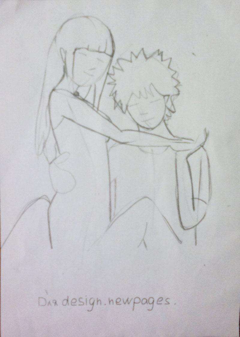 Как нарисовать влюблённую аниме пару карандашом поэтапно