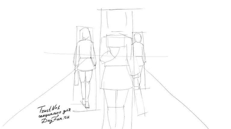 Рисуем аниме школьницу - шаг 2