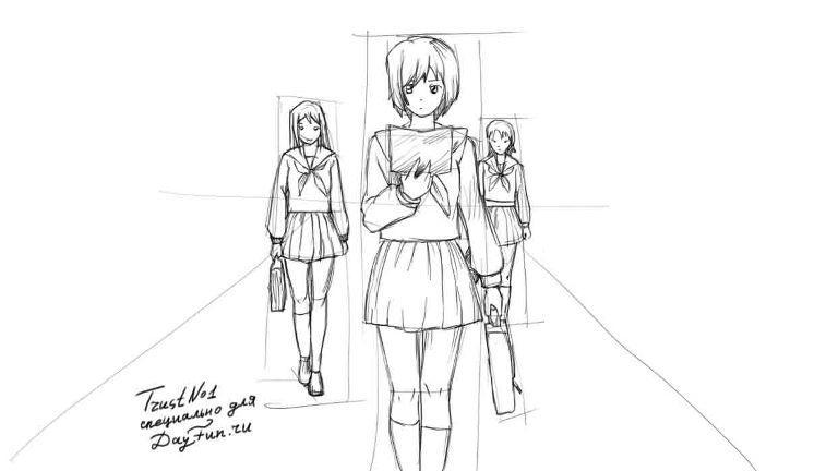 Рисуем аниме школьницу - шаг 3