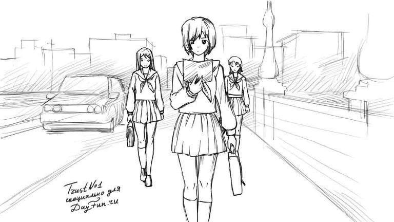 Рисуем аниме школьницу - шаг 4