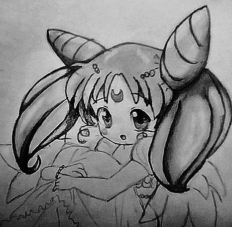 Рисуем Чибиусу из Сейлор Мун на бумаге