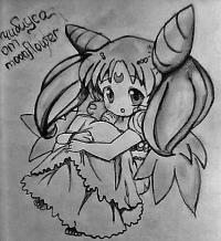 Чибиусу из Сейлор Мун на бумаге карандашом
