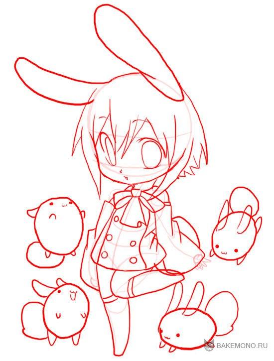 Рисуем девочку-кролика в стиле чиби в полный рост - шаг 12