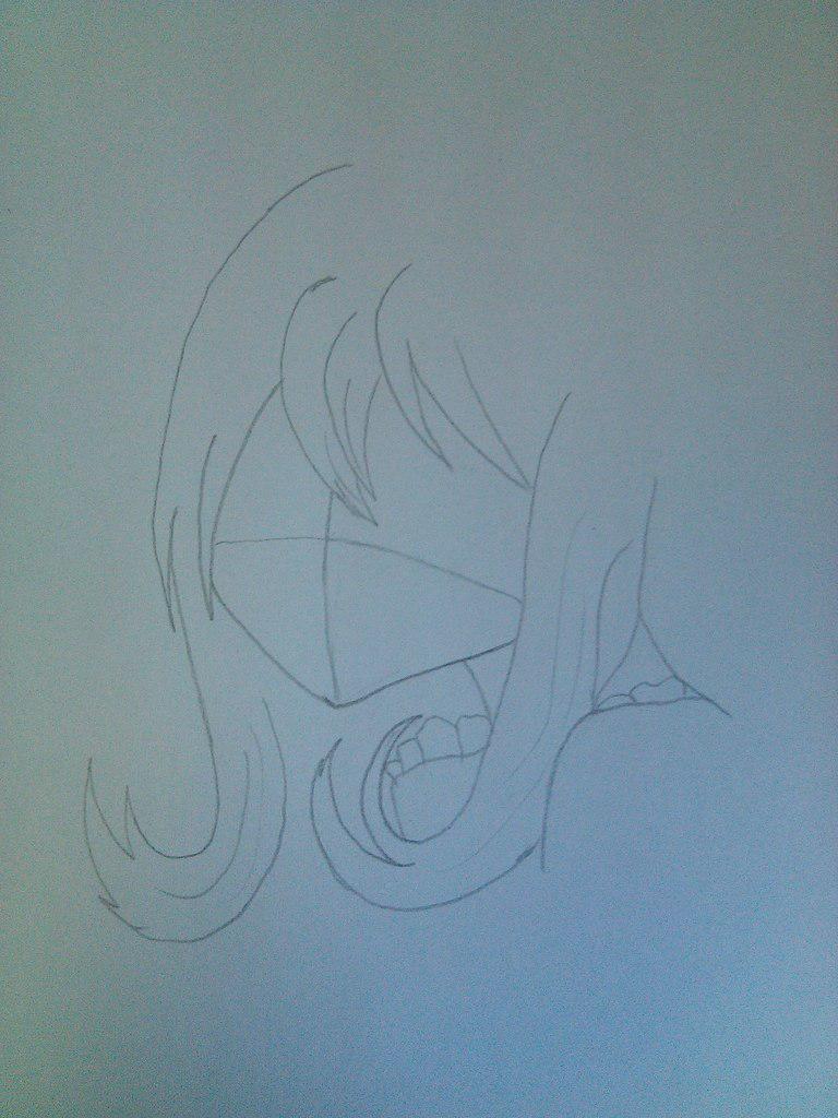 Рисуем девочку неко карандашами - шаг 2
