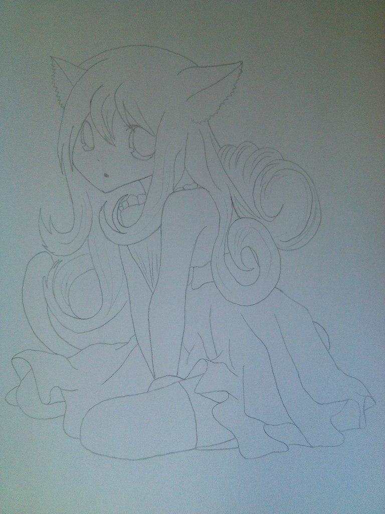 Рисуем девочку неко карандашами - шаг 5