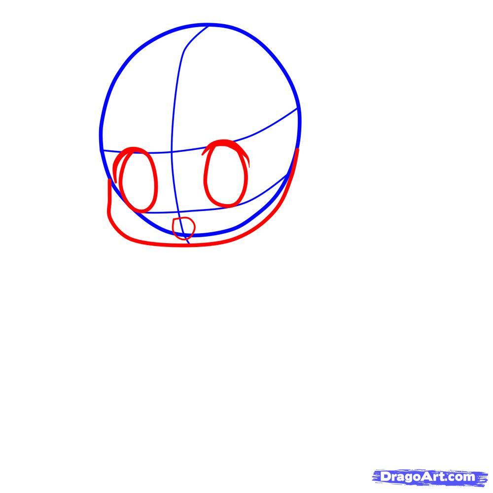 Рисуем девочку с длинными волосами в стиле Чиби - шаг 2