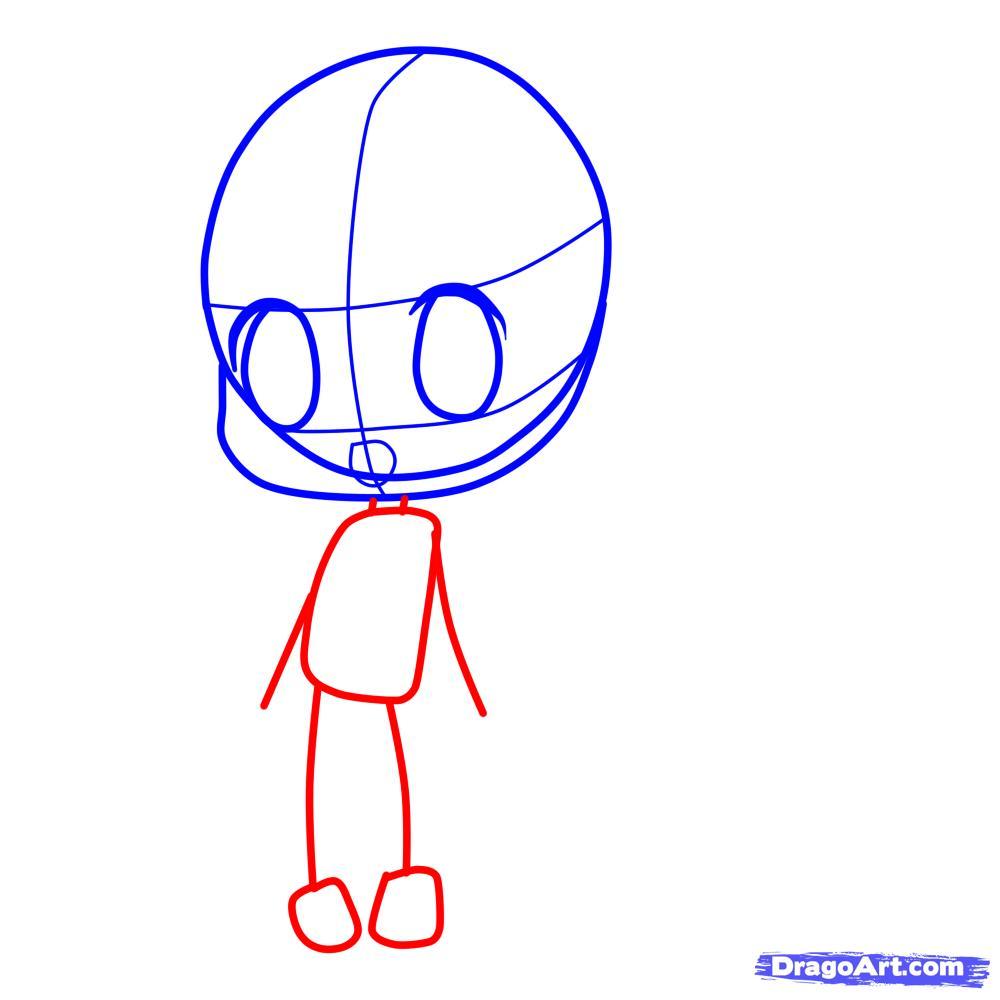 Рисуем девочку с длинными волосами в стиле Чиби - шаг 3