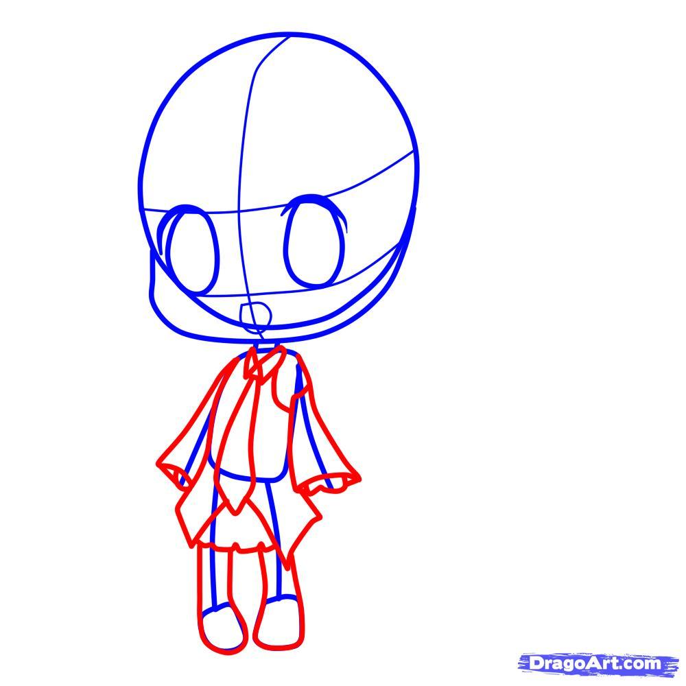 Рисуем девочку с длинными волосами в стиле Чиби - шаг 4