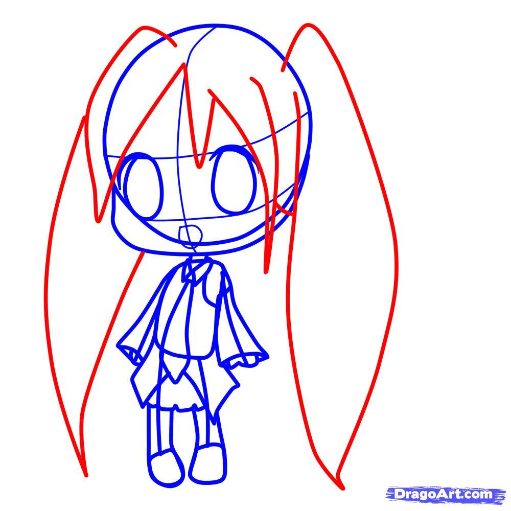 Рисуем девочку с длинными волосами в стиле Чиби - шаг 5
