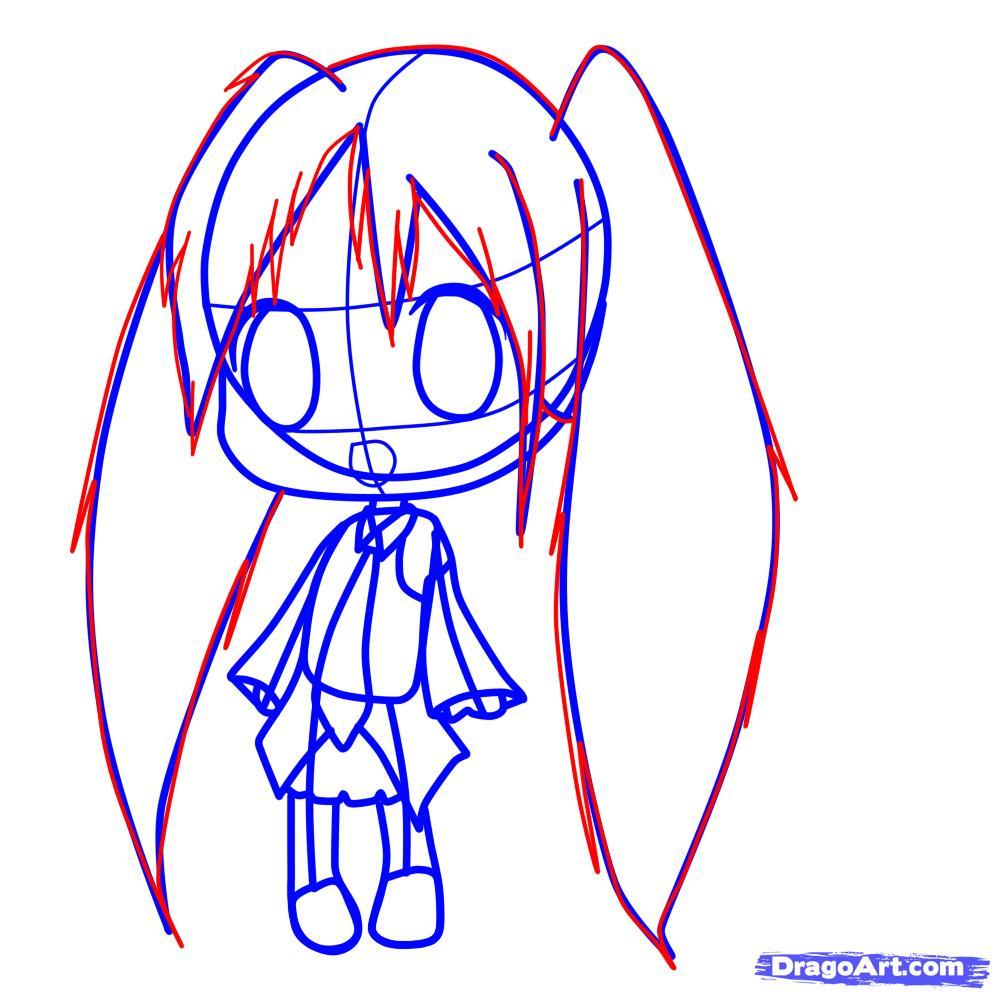 Рисуем девочку с длинными волосами в стиле Чиби - шаг 6