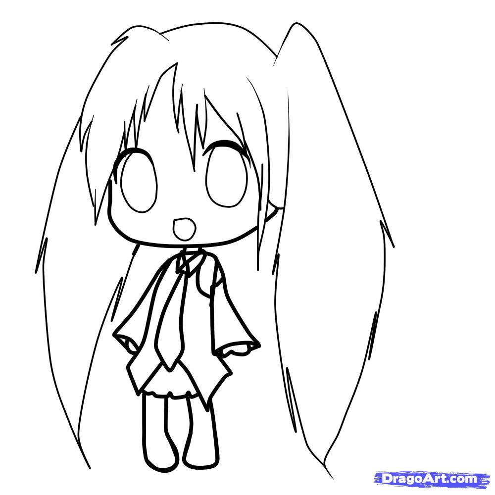Рисуем девочку с длинными волосами в стиле Чиби - шаг 7