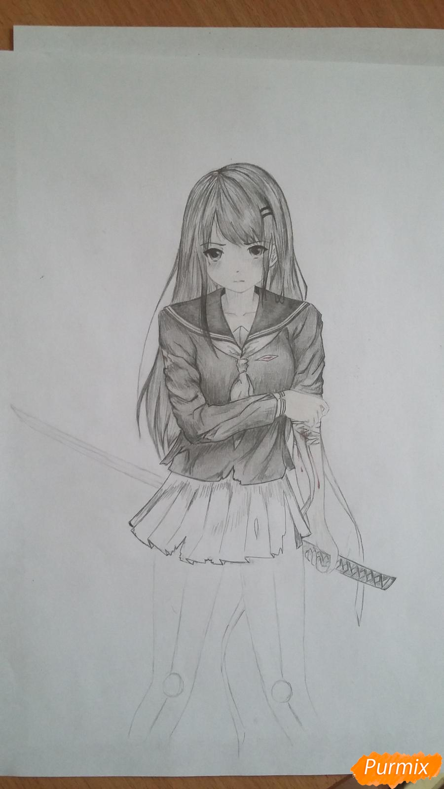 Рисуем девушку с катаной в аниме стиле - шаг 13