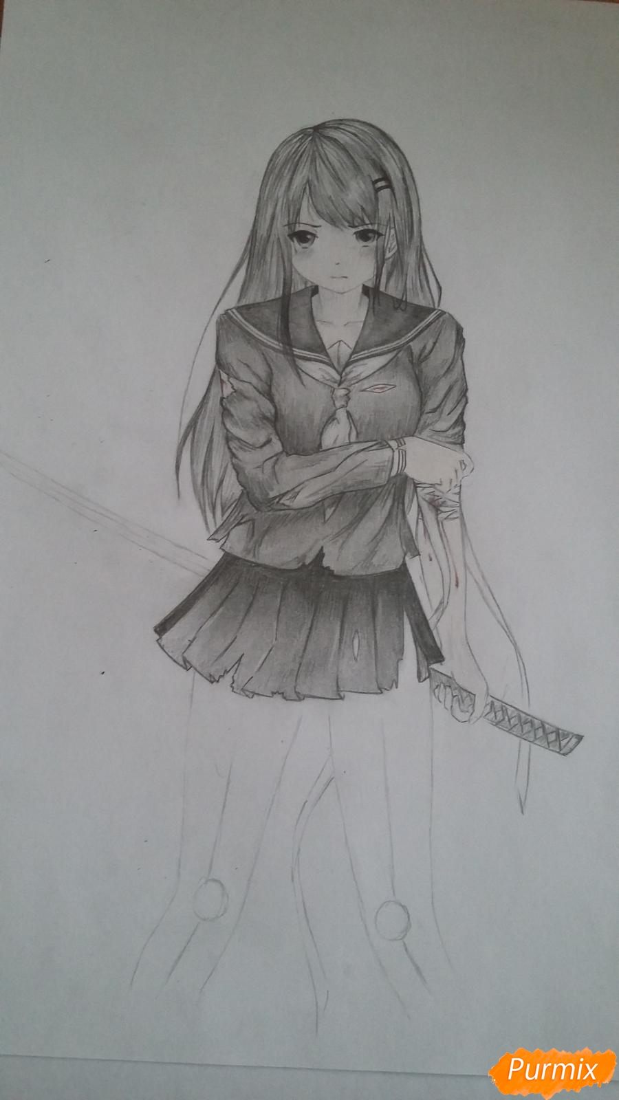 Рисуем девушку с катаной в аниме стиле - шаг 14
