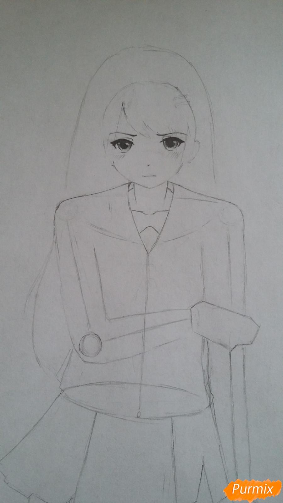 Рисуем девушку с катаной в аниме стиле - шаг 4