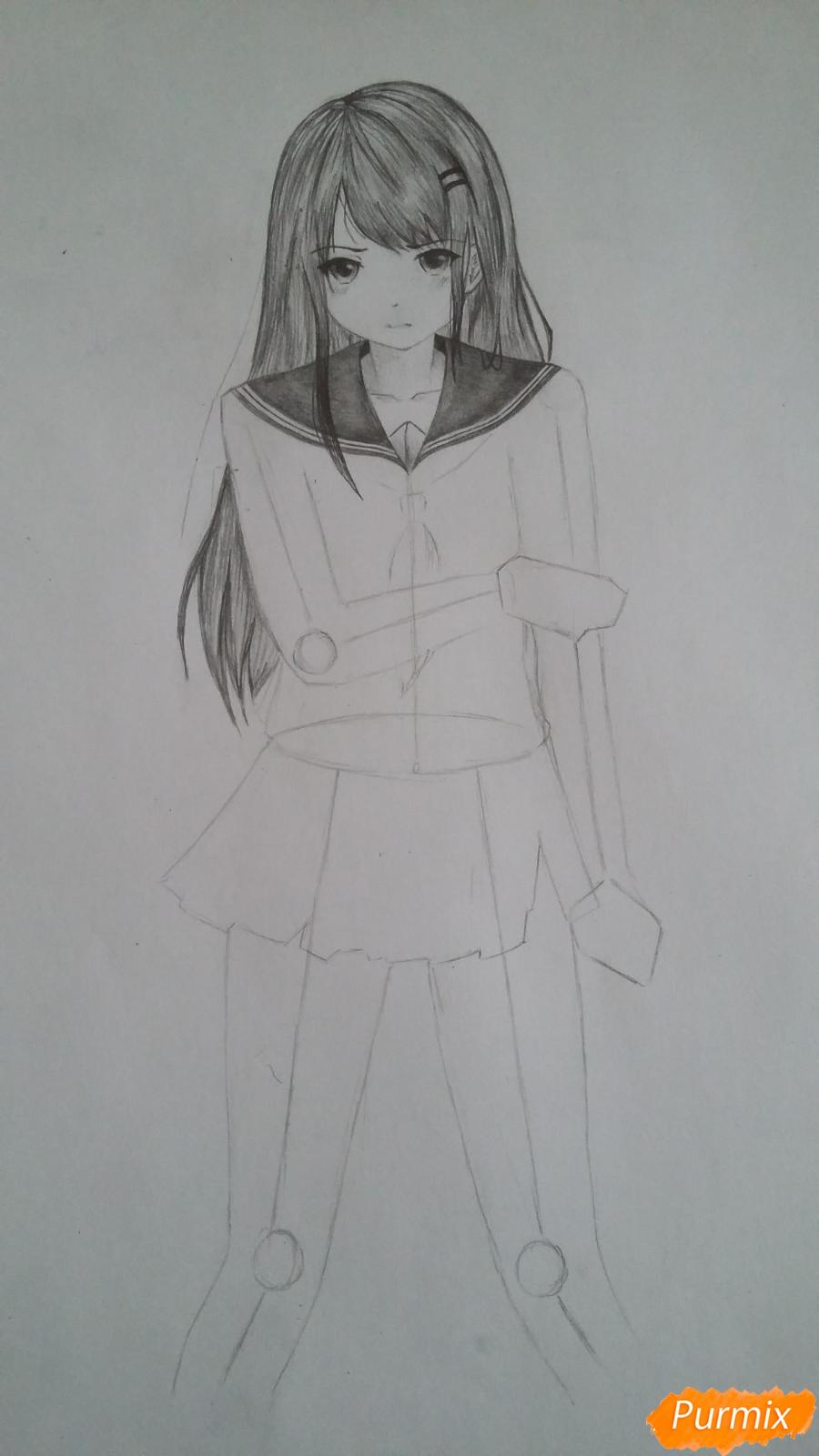 Рисуем девушку с катаной в аниме стиле - шаг 7