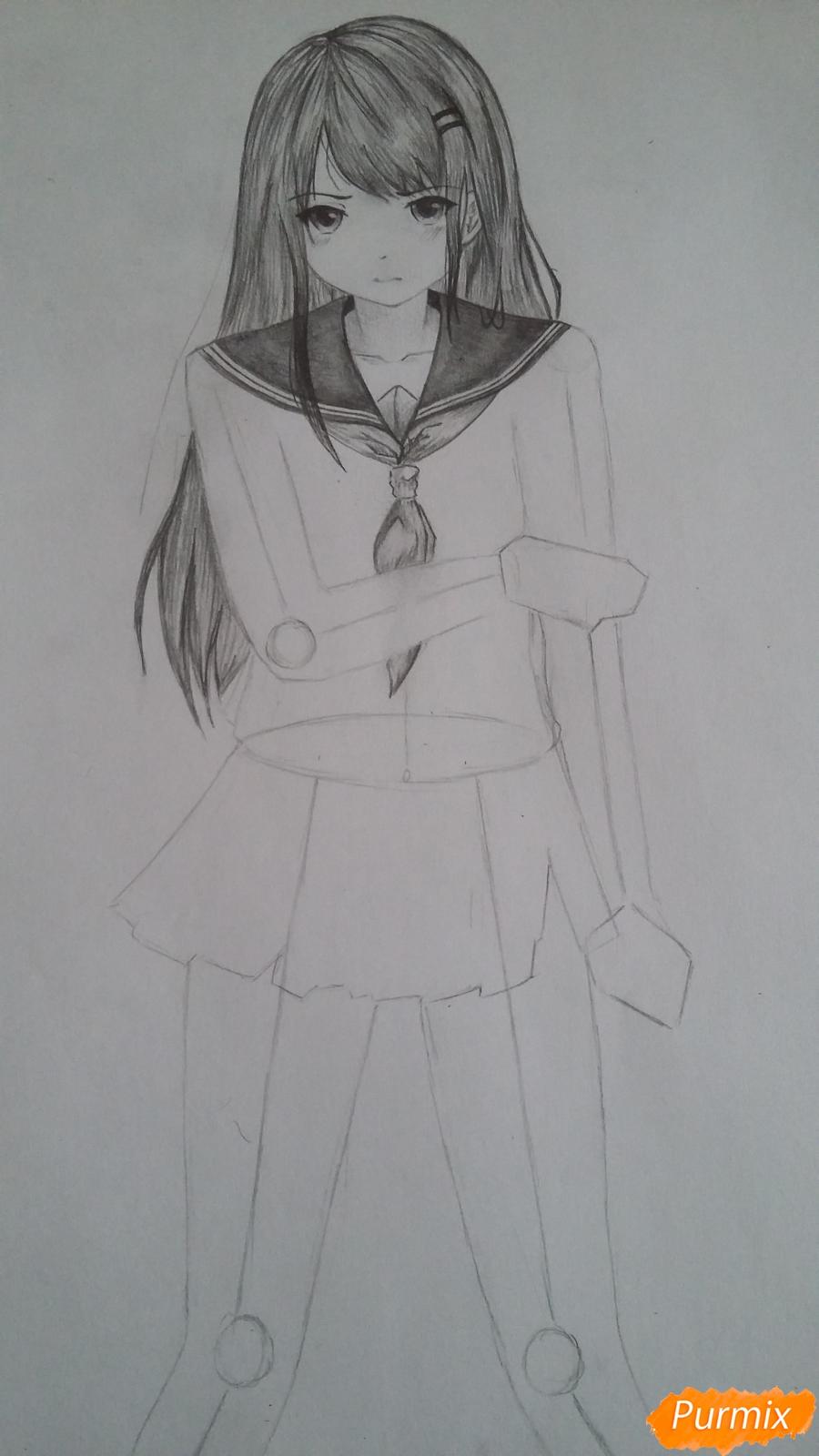 Рисуем девушку с катаной в аниме стиле - шаг 8