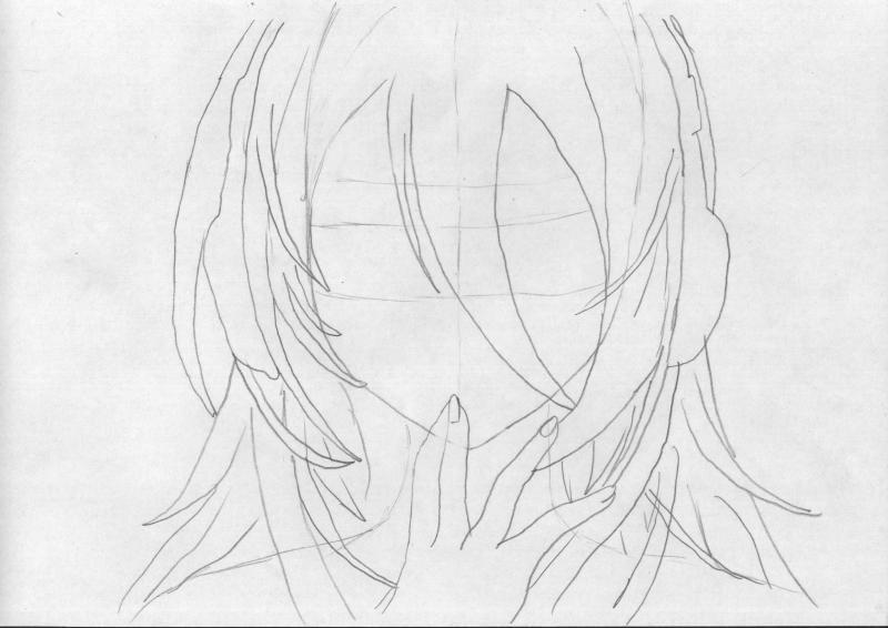 Рисуем голову девушку с наушниками - шаг 2