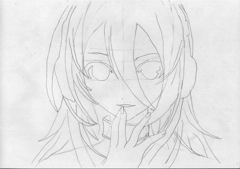Рисуем голову девушку с наушниками - шаг 3