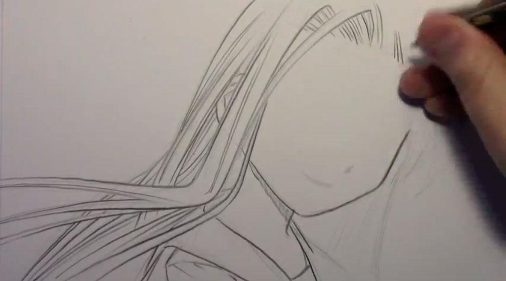 Рисуем девушку с реалистичными глаза в стиле манга - шаг 2