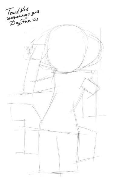 Рисуем девушку с хвостом в стиле неко - шаг 1