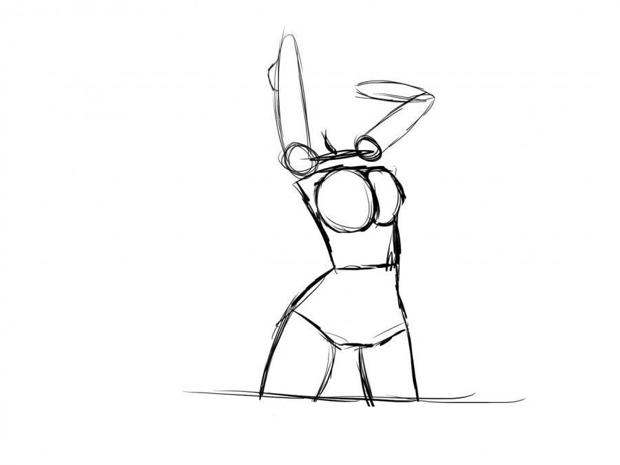 Рисуем девушку в купальнике в стиле аниме для начинающих - шаг 5