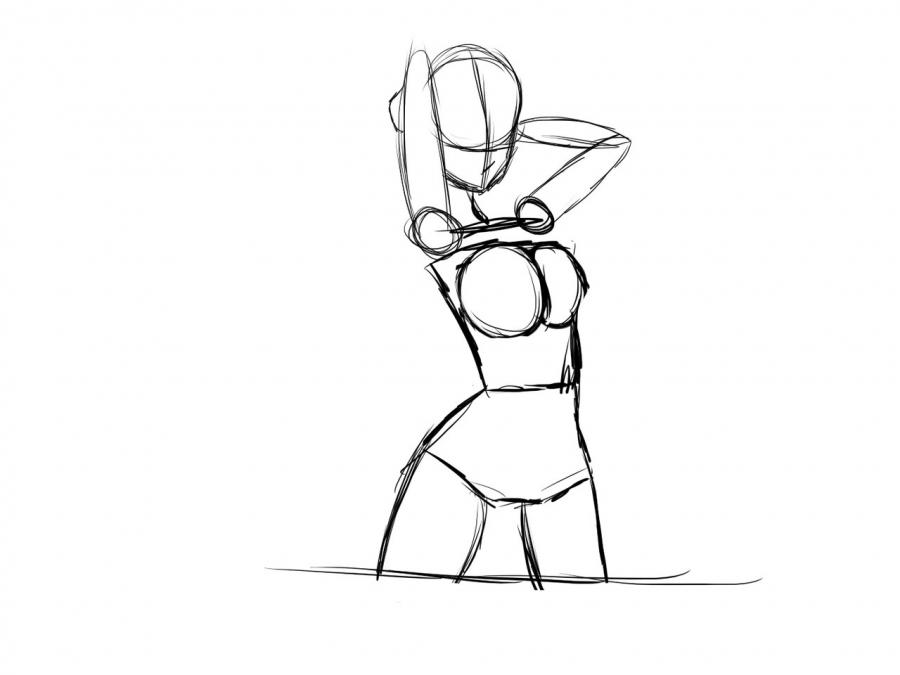 Рисуем девушку в купальнике в стиле аниме для начинающих - шаг 6