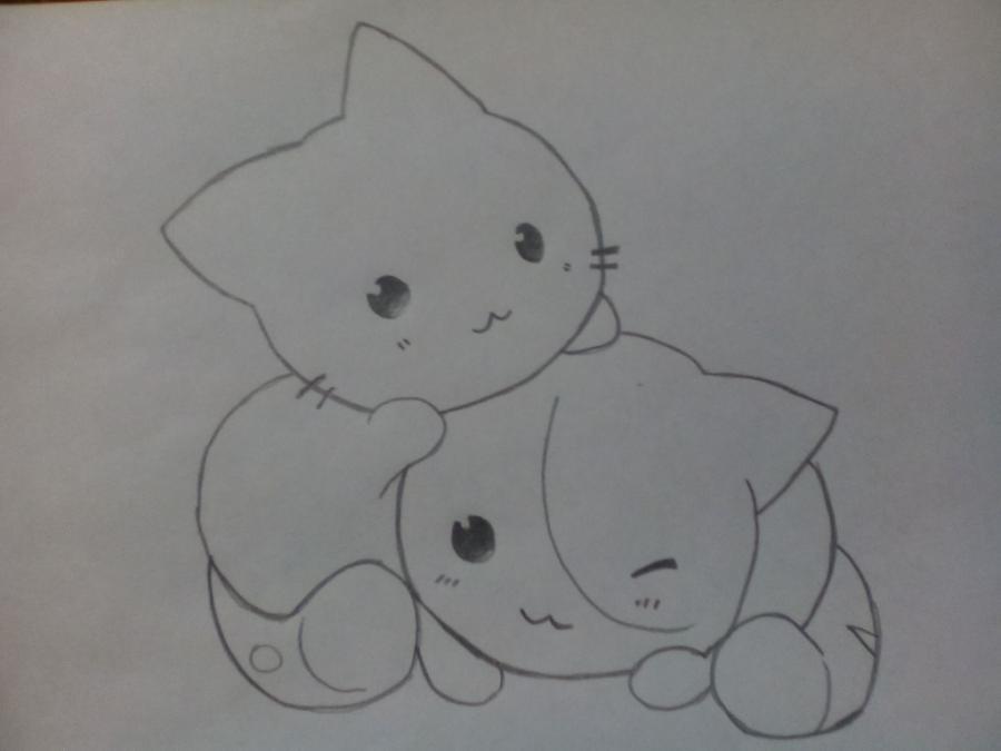 Рисуем двух няшных котят - шаг 3
