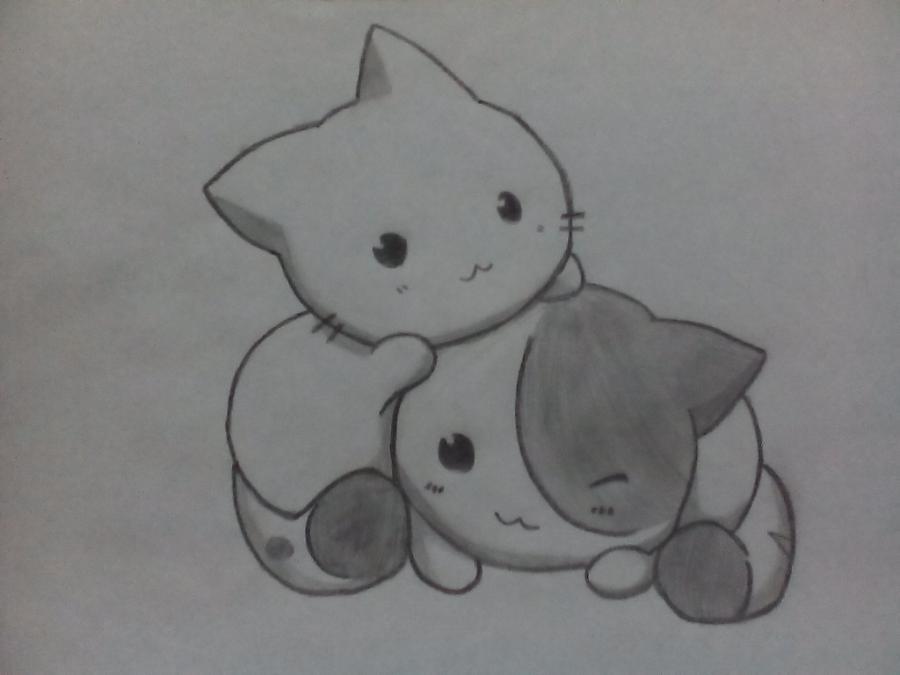Рисуем двух няшных котят - шаг 4