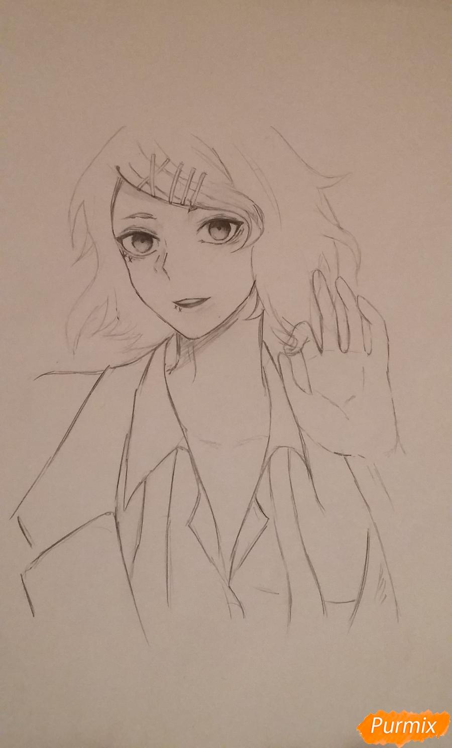 Рисуем портрет Дзюдзо Судзую - шаг 7