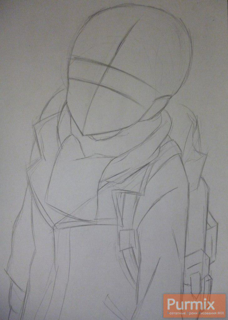 Рисуем Ёшино Такигава из аниме Буря потерь карандашами - шаг 1
