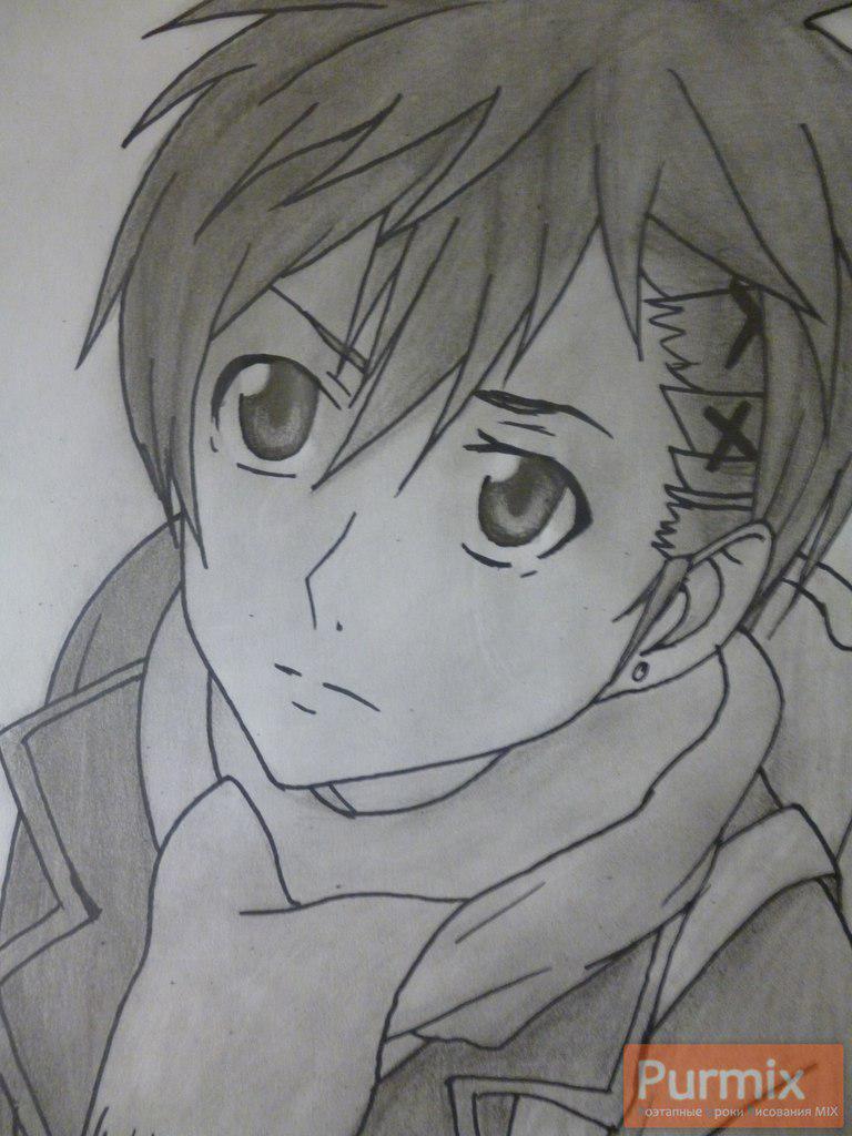 Рисуем Ёшино Такигава из аниме Буря потерь карандашами - шаг 10