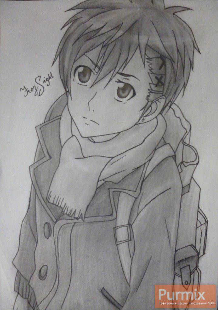 Рисуем Ёшино Такигава из аниме Буря потерь карандашами - шаг 11