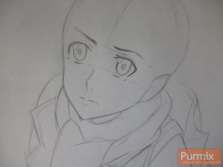 Рисуем Ёшино Такигава из аниме Буря потерь карандашами - шаг 2