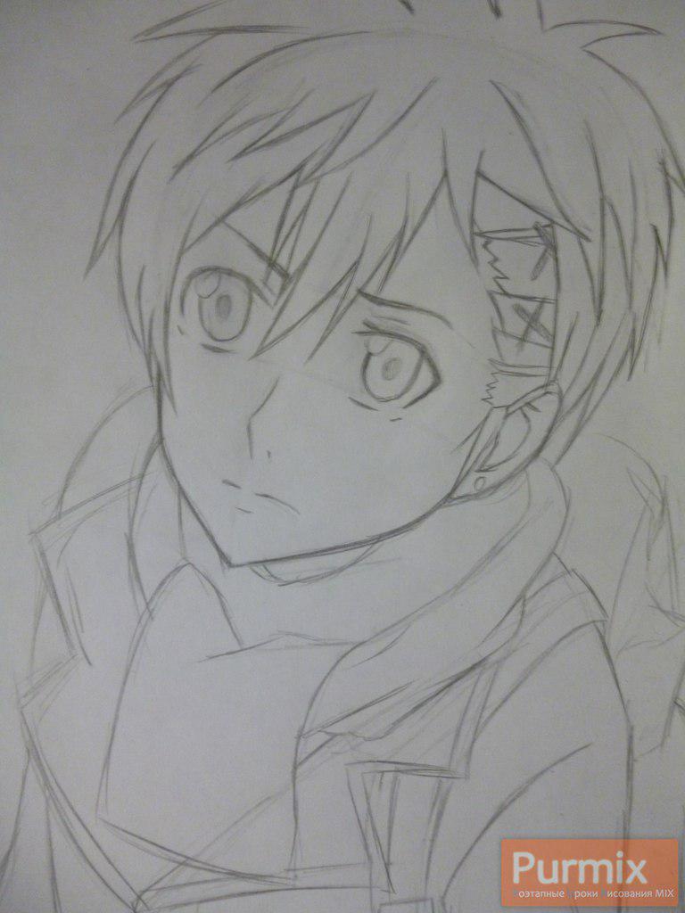 Рисуем Ёшино Такигава из аниме Буря потерь карандашами - шаг 3