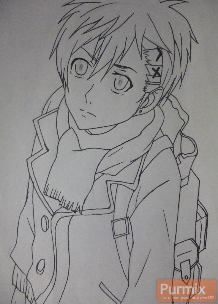Рисуем Ёшино Такигава из аниме Буря потерь карандашами - шаг 4