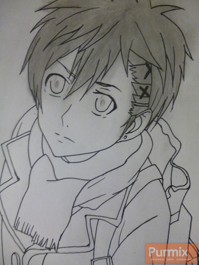Рисуем Ёшино Такигава из аниме Буря потерь карандашами - шаг 5