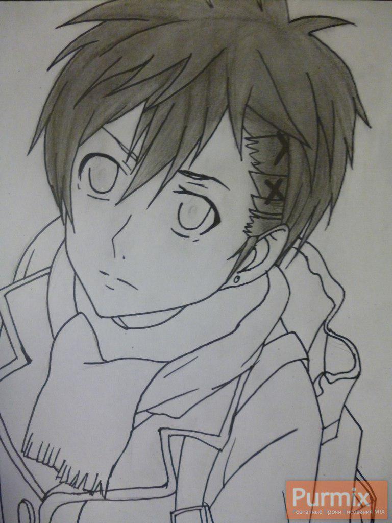 Рисуем Ёшино Такигава из аниме Буря потерь карандашами - шаг 6