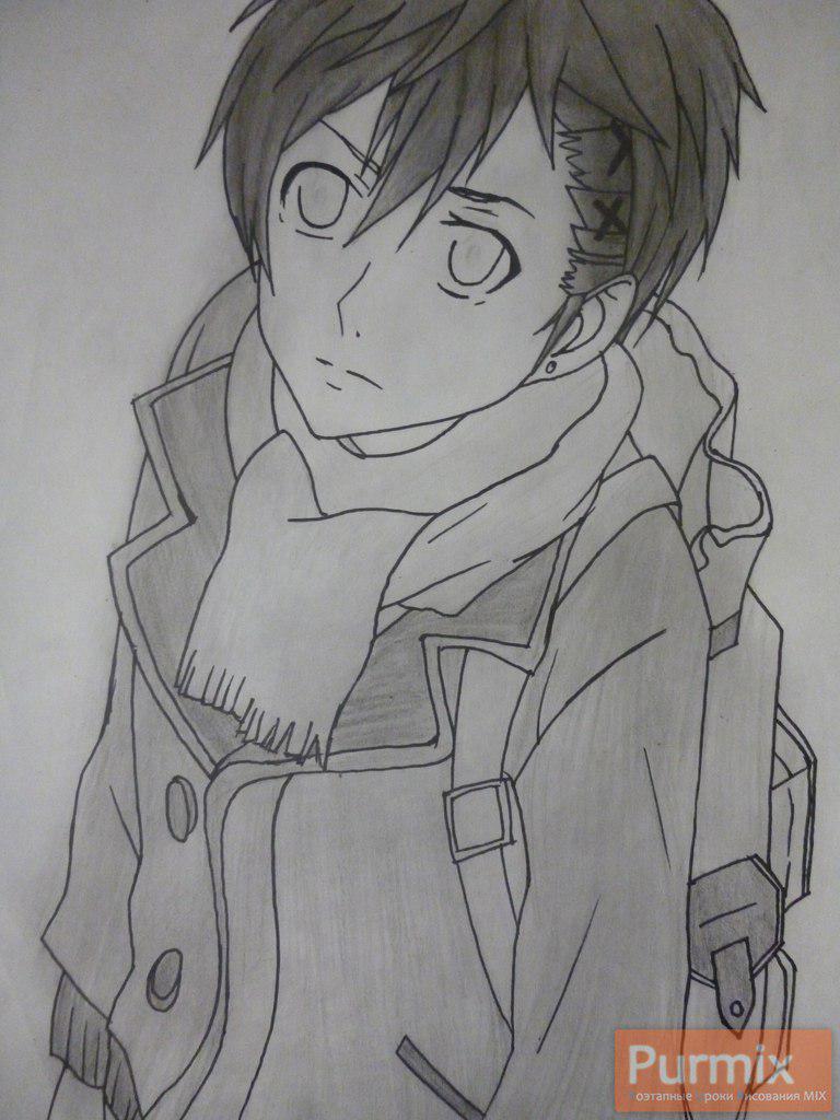 Рисуем Ёшино Такигава из аниме Буря потерь карандашами - шаг 7